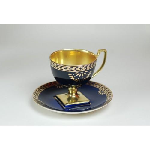 Filiżanka Matylda kawa/espresso kobalt ze złotem