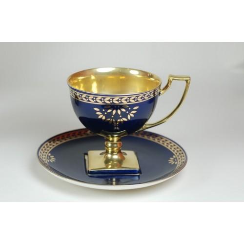Filiżanka Matylda herbata - kobalt ze złotem