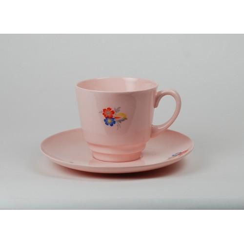 Filiżanka JUNE II - dekoracja Art Deco (różowa porcelana)