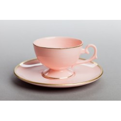 Prometeusz espresso cup with gold stipe (pink porcelain)