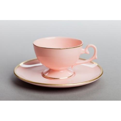 Filiżanka Prometeusz espresso - pasek (różowa porcelana)