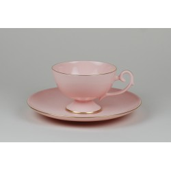Prometheus coffee cup with gold stripe (pink porcelain)