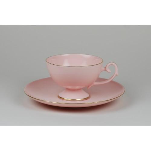 Filiżanka Prometeusz kawa - pasek (różowa porcelana)