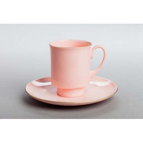 Filiżanka London ze złotym paskiem (różowa porcelana)