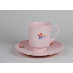 Filiżanka London - kwiaty Art Deco (różowa porcelana)