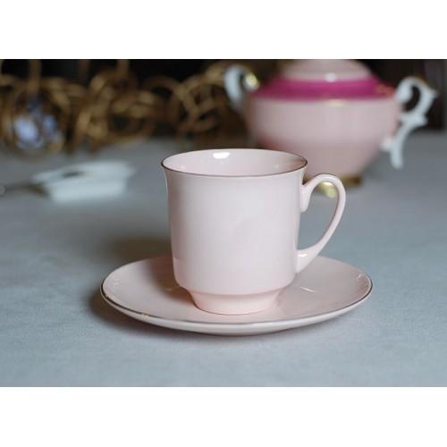 Filiżanka JUNE złoty pasek (różowa porcelana)