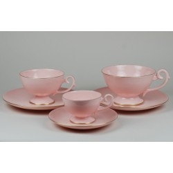 Prometheus espresso, coffe, tea set with relief (pink porcelain)