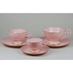 Serwis Prometeusz - kawa i herbata - dekoracja pasek (różowa porcelana)