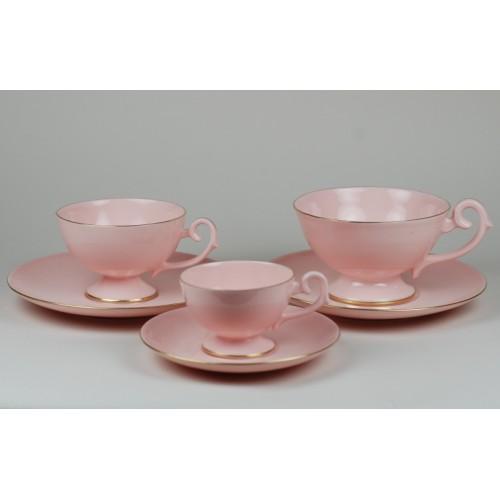 Serwis Prometeusz - espresso, kawa, herbata - dekoracja pasek (różowa porcelana)