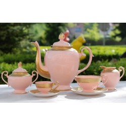 Serwis Prometeusz do kawy - dekoracja relief (różowa porcelana)