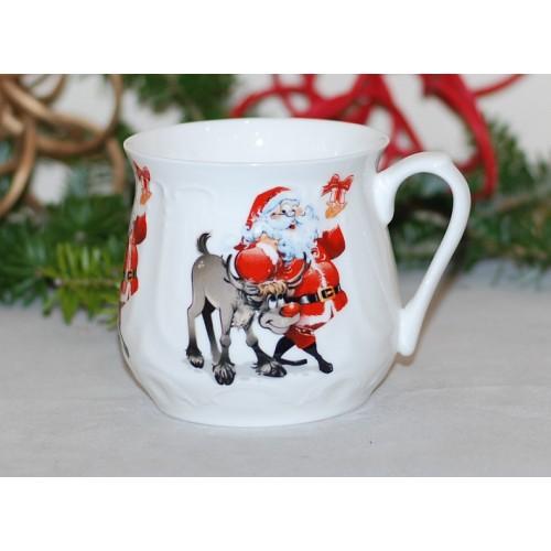 Kubek śląski (duży) - dekoracja Renifer z Mikołajem