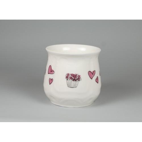 Kubek śląski (duży) - dekoracja Różowe serca