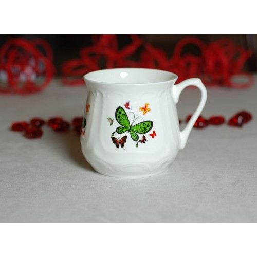 Silesian mug - decoration Green butterfly