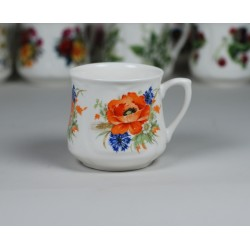 Silesian mug (small) - decoration red weed with cornflowers