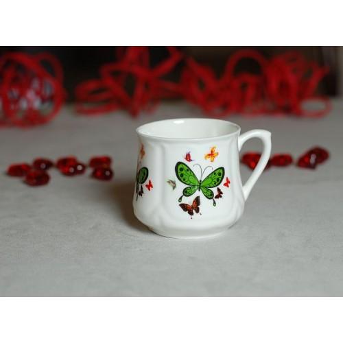 Kubek śląski (mały) - dekoracja Zielony motylek