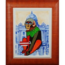 "Porcelain painting ""Austrian Monkey"""