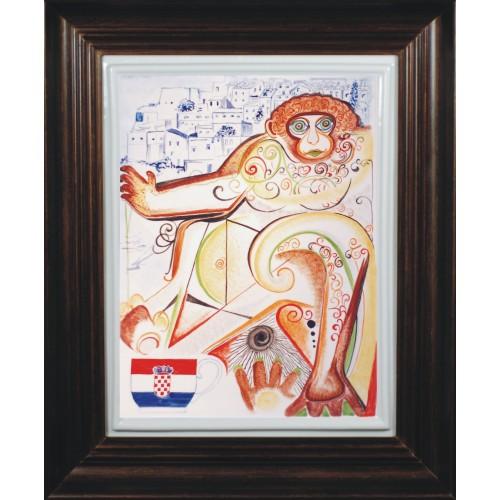 "Porcelain painting ""Croatian Monkey"""