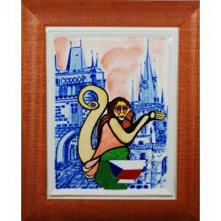 "Porcelain painting ""Czech Monkey"""