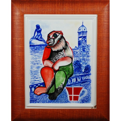 "Porcelain painting ""Dannish Monkey"""
