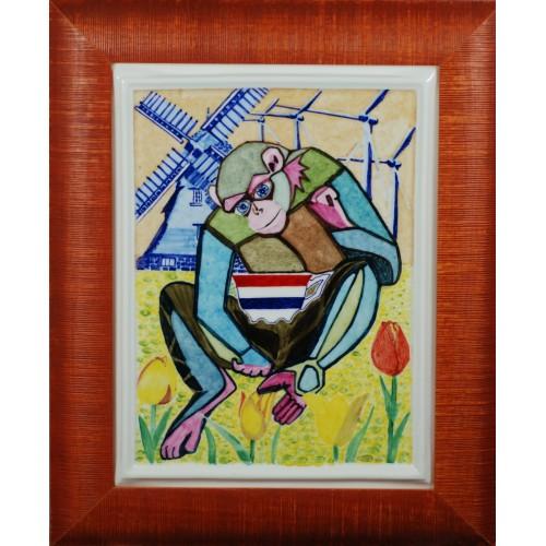 "Porcelain painting ""Dutch Monkey"""