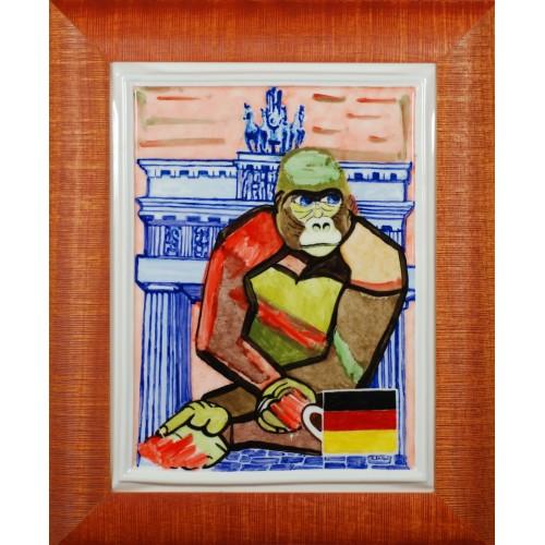 "Porcelain painting ""German Monkey"""
