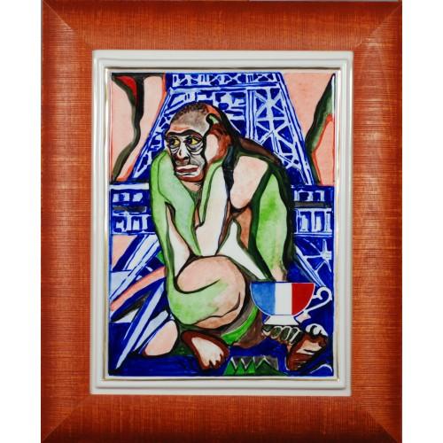 """Obraz porcelanowy"""" Małpa Francuska"""""""