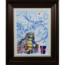 "Porcelain painting ""Icelandic Monkey"""