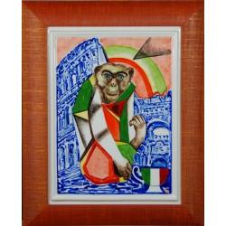 """Obraz porcelanowy"""" Małpa Włoska"""""""