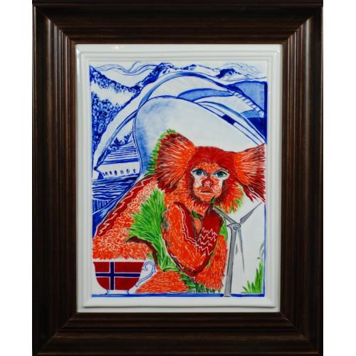 "Porcelain painting ""Norvegian Monkey"""