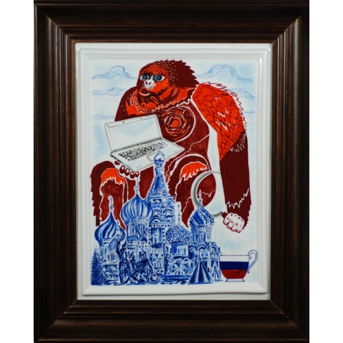 "Porcelain painting ""Russian Monkey"""