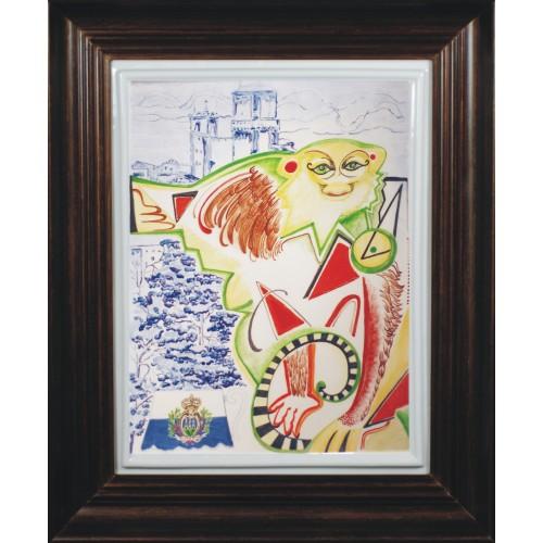 """Porcelain painting """"San Marino Monkey"""""""