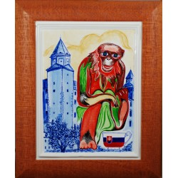 "Porcelain painting ""Slovak Monkey"""