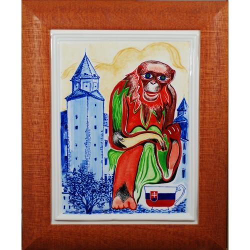 """Porcelain painting """"Slovak Monkey"""""""