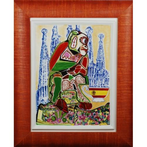 """Porcelain painting """"Spanish Monkey"""""""