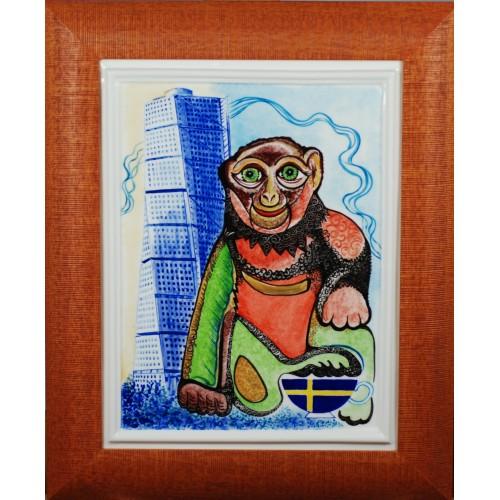 """Porcelain painting """"Swedish Monkey"""""""