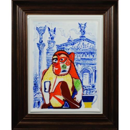 """Porcelain painting """"Ukrainian Monkey"""""""