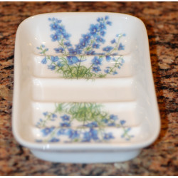 Porcelain soapholder - decoration Delphinium