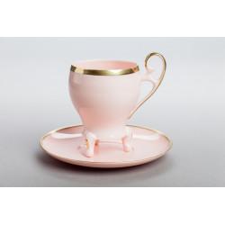 Filiżanka Wiedeńska kawa złoty pasek (różowa porcelana)