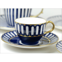 Tulip cup - cobalt with gold