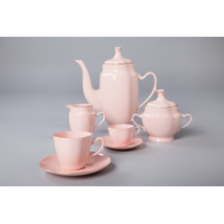 Coffee/Tea and espresso set ANNA MARIA with gold (pink porcelain)