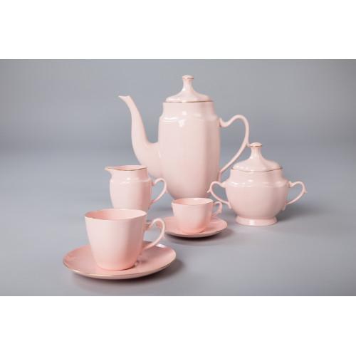 Serwis Anna Maria  do kawy/herbaty i espresso- dekoracja złoty pasek (różowa porcelana)