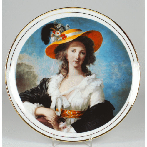"Decorative plate ""Self-portrait in a straw hat - Elizabeth Vigee-Lebrun"""