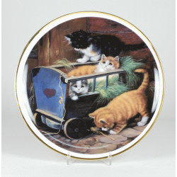 "Decorative plate ""Cats in the trolley"""