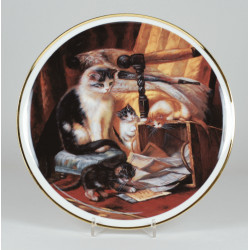 "Decorative plate ""Cats on the chair"""