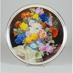 "Decorative plate ""bouquet of flowers with a gold shawl"""