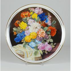 """Patera """"Bukiet kwiatów ze złotym szalem"""""""