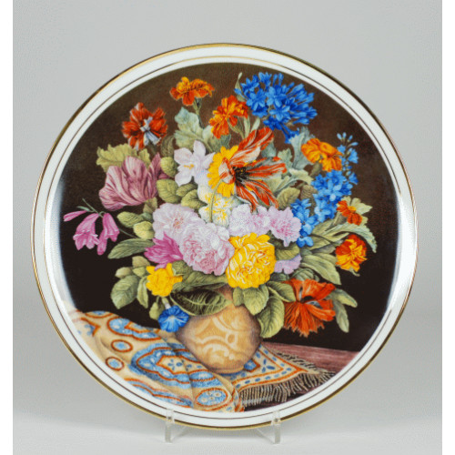 "Decorative plate ""bouquet of flowers with a blue and gold shawl"""