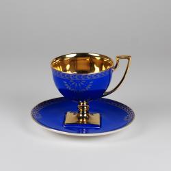 Matylda tea cup - decoration saphire with gold