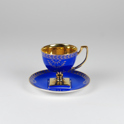 Matylda coffee cup - decoration saphire with gold