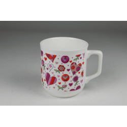 Cmielow mug - decoration Flowers and hearts
